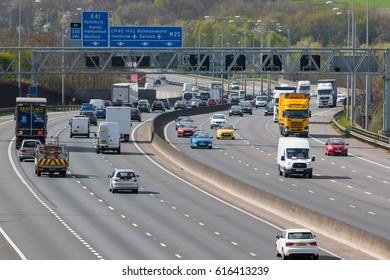 LONDON, UK - APRIL 05, 2017: Traffic on the busiest British motorway M25