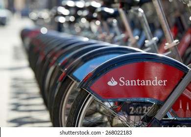 LONDON, UK - APRIL 06: Detail of Boris bikes in line. April 06, 2015 in London. On 27 February 2015, Mayor Boris Johnson secured Santander's sponsorship on the bike's scheme to replace Barclays bank.