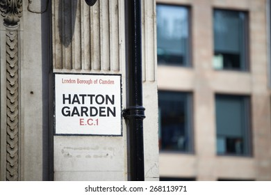 LONDON, UK - APRIL 07: Hatton Garden street sign. April 07, 2015 in London. The famous street is also known as diamond district due to its sheer number of jewelry shops.