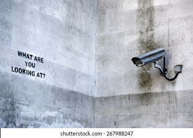LONDON, UK - APRIL 08th 2015: Banksy's 'CCTV' Graffiti in London