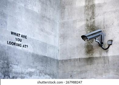 LONDON, UK - APRIL 08th 2015: Banksy's 'CCTV' Graffiti in London