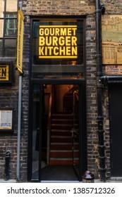 LONDON, UK - APRIL 1, 2019: Gourmet Burger Kitchen, Shopfront, Entrance, Restaurant in London