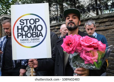 London, U.K  April 12 2017: LGBT Community protest outside the Russian Embassy calling on the British Government to intervene and end  oppression towards gay men in Chechnya, Russia.