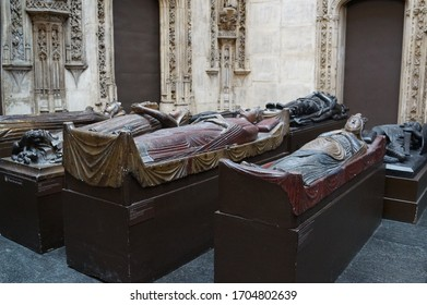London, UK - April 13 2015: cast effigies in the cast courts of the Victoria and Albert Museum