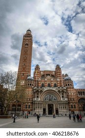 London, UK - April 13, 2016: Westminster Cathedral (1895 - 1903) - mother church of Catholic community in England & Wales and Metropolitan Church & Cathedral of Archbishop of Westminster.
