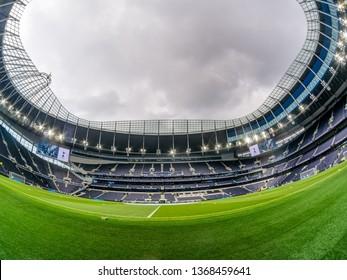 London, UK - April 13 2019: panoramic view stadium during the Premier League between Tottenham Hotspur and Huddersfield Town at Tottenham Hotspur Stadium