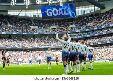 London, UK - April 13 2019: Lucas Mora of Tottenham Hotspur during the Premier League between Tottenham Hotspur and Huddersfield Town at Tottenham Hotspur Stadium