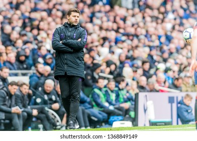 London, UK - April 13 2019: Mauricio Pochettino manager of Tottenham Hotspur during the Premier League between Tottenham Hotspur and Huddersfield Town at Tottenham Hotspur Stadium