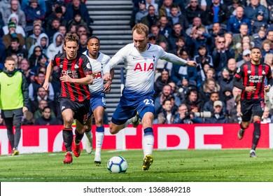 London, UK - April 13 2019: Christian Eriksen of Tottenham Hotspur during the Premier League between Tottenham Hotspur and Huddersfield Town at Tottenham Hotspur Stadium