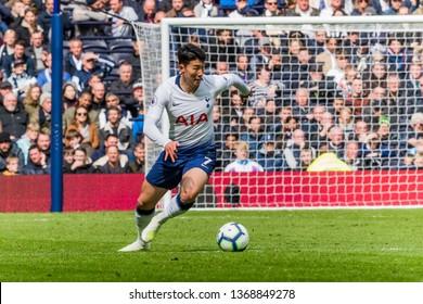 London, UK - April 13 2019: Son Heung-Min of Tottenham Hotspur during the Premier League between Tottenham Hotspur and Huddersfield Town at Tottenham Hotspur Stadium