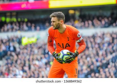 London, UK - April 13 2019: Hugo Lloris of Tottenham Hotspur during the Premier League between Tottenham Hotspur and Huddersfield Town at Tottenham Hotspur Stadium