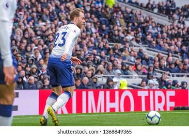 London, UK - April 13 2019: Christian Eriksen of Tottenham Hotspur Hotspur during the Premier League between Tottenham Hotspur and Huddersfield Town at Tottenham Hotspur Stadium