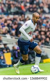 London, UK - April 13 2019: Lucas of Tottenham Hotspur during the Premier League between Tottenham Hotspur and Huddersfield Town at Tottenham Hotspur Stadium