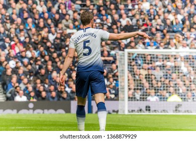 London, UK - April 13 2019: Jan Vertonghen of Tottenham Hotspur  during the Premier League between Tottenham Hotspur and Huddersfield Town at Tottenham Hotspur Stadium