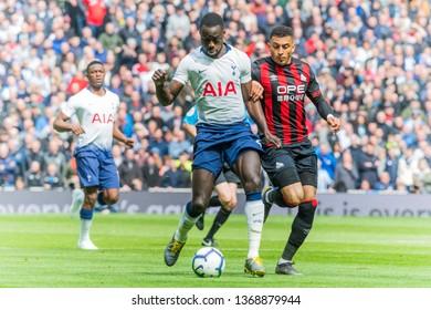 London, UK - April 13 2019: Davinson S‡nchez of Tottenham Hotspur  during the Premier League between Tottenham Hotspur and Huddersfield Town at Tottenham Hotspur Stadium