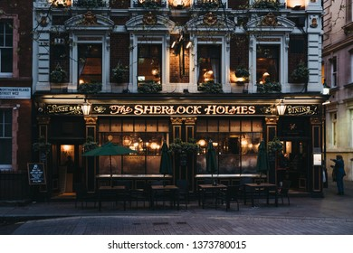 London, UK - April 13, 2019: Facade of Sherlock Holmes pub in London, a traditional English pub with Holmes-themed memorabilia, restaurant and roof garden.