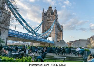 London, UK - April 13 2021: Tower Bridge beer garden, River Thames, Shad Thames, London