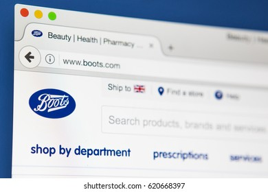 LONDON, UK - APRIL 13TH 2017: The homepage of the official website for the Boots company, on 13th April 2017.
