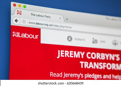 LONDON, UK - APRIL 13TH 2017: The official homepage of the Labour Party - a political party in the UK, on 13th April 2017.