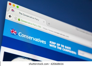 LONDON, UK - APRIL 13TH 2017: The official homepage of the Conservative Party, on 13th April 2017.
