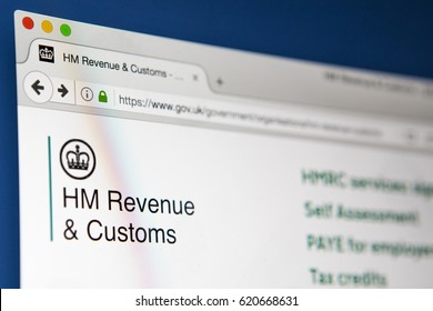 LONDON, UK - APRIL 13TH 2017: The homepage of the official UK Government website for HM Revenue and Customs , on 13th April 2017.