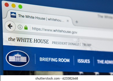LONDON, UK - APRIL 13TH 2017: The official homepage of The White House and the Trump Administration, on 13th April 2017.