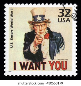 London, UK, April 14 2011 - Vintage 1998 United States of America cancelled postage stamp  showing an image of Uncle Sam from World War One saying I want you