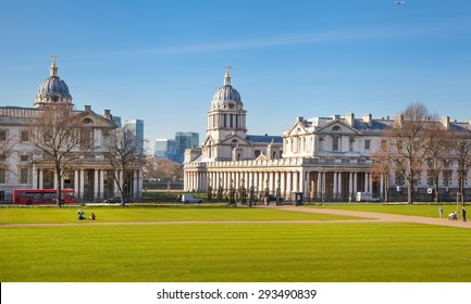 LONDON, UK - APRIL 14, 2015: Greenwich royal navy collage. Painted hall and chapel.