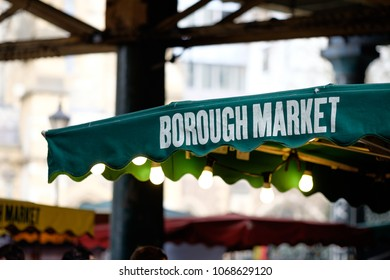 LONDON, UK - APRIL 14, 2018: awning covering one of the picturesque food stalls in Borough Market.