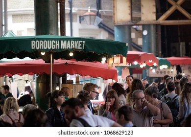 LONDON, UK - APRIL 14, 2018: busy interior of Borough Market on a weekend.