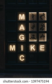 London, UK - April 14, 2019: Magic Mike sign outside The Theatre at the Hippodrome Casino in West End, London. Magic Mike Live is a show based on hit films conceived and co-directed by Channing Tatum.