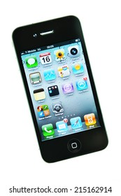 LONDON, UK - APRIL 15, 2011: Close up of iPhone 4 with applications isolated against white (illustrative editorial)