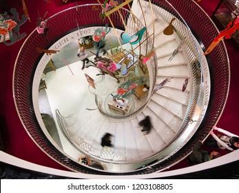 LONDON, UK - APRIL 15, 2012: Spiral stairway in Fortnum & Mason department store.