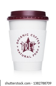LONDON, UK - APRIL 15, 2019: Pret a Manger Coffee Paper Cup from the famous coffee shop chain with logo in the middle on white.