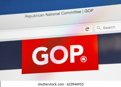 LONDON, UK - APRIL 15TH 2017: The homepage of the official website for the Republican Party, also known as the GOP (Grand Old Party), on 15th April 2017.