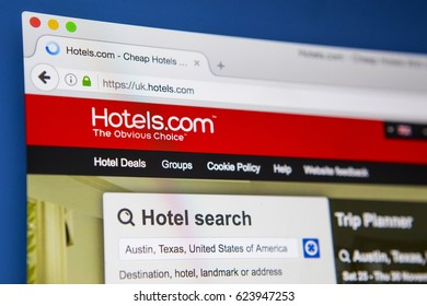 LONDON, UK - APRIL 15TH 2017: The homepage of the official website for Hotels.com, a site for booking hotel rooms online, on 15th April 2017.