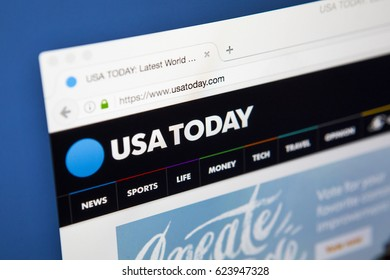 LONDON, UK - APRIL 15TH 2017: The homepage of the official website for newspaper USA Today, on 15th April 2017.