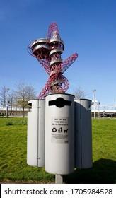 London, UK. April 15th, 2020. Arcelor Mattal slide  at the Queen Elizabeth Olympic Park in Stratford. Spring time.