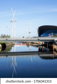 London, UK. April 15th, 2020. The Aquatics Centre and construction work at the Queen Elizabeth Olympic Park in Stratford. London Olympic Stadium.   During Coronavirus or Covid-19.