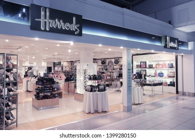 LONDON, UK - APRIL 16, 2014: Harrods store at London Heathrow Airport, UK. Heathrow is the busiest airport in Europe. It handled 73.4 million passengers in 2014.