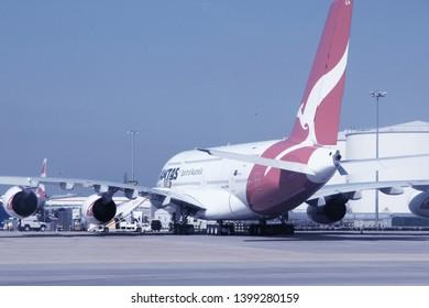 LONDON, UK - APRIL 16, 2014: Qantas Airbus A380 at London Heathrow airport. Qantas is the flag carrier of Australia and has 12 A380s in fleet.