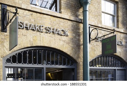 LONDON, UK - APRIL 16, 2014: The first Shake Shack fast food restaurant in the UK, Covent Garden, London.