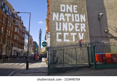 """LONDON, UK - APRIL 17TH 2008: Banksy's """"One Nation Under CCTV"""" Graffiti located off of Oxford Street, London."""