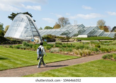 London, UK - April 18, 2014. Davies Alpine House and Princess of Wales Conservatory at Kew Botanic Gardens. The gardens were founded in 1840 and are of international significance.