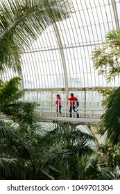 London, UK - April 18, 2014. Visitors walk around the interior of the Palm House at Kew Gardens. The gardens were founded in 1840 and are of international significance for botanical research.