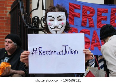 London, UK. April 18, 2018. Julian Assange still being detained without charge in London, now a citizen of Ecuador, has had his internet connection and rights to visitation stopped.  #ReconnectJulian