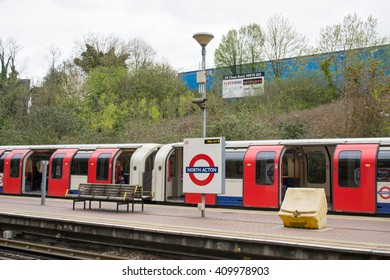 London, UK - April 18: London Underground North Acton Tube station two days before Queen Elizabeth II 90th birthday on April 18, 2016