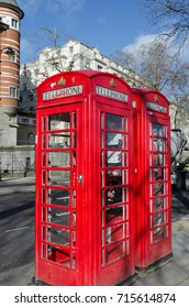 LONDON, UK - April 19, 2015: London's street phone booth