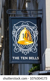 LONDON, UK - APRIL 19TH 2018: Sign of The Ten Bells pub in the East End of London, on 19th April 2018.  It is famous for its association with Annie Chapman and Mary Kelly - victims of Jack the Ripper.