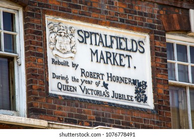 LONDON, UK - APRIL 19TH 2018: A plaque above the entrance to the historic Spitalfields Market in London, UK, on 19th April 2018.